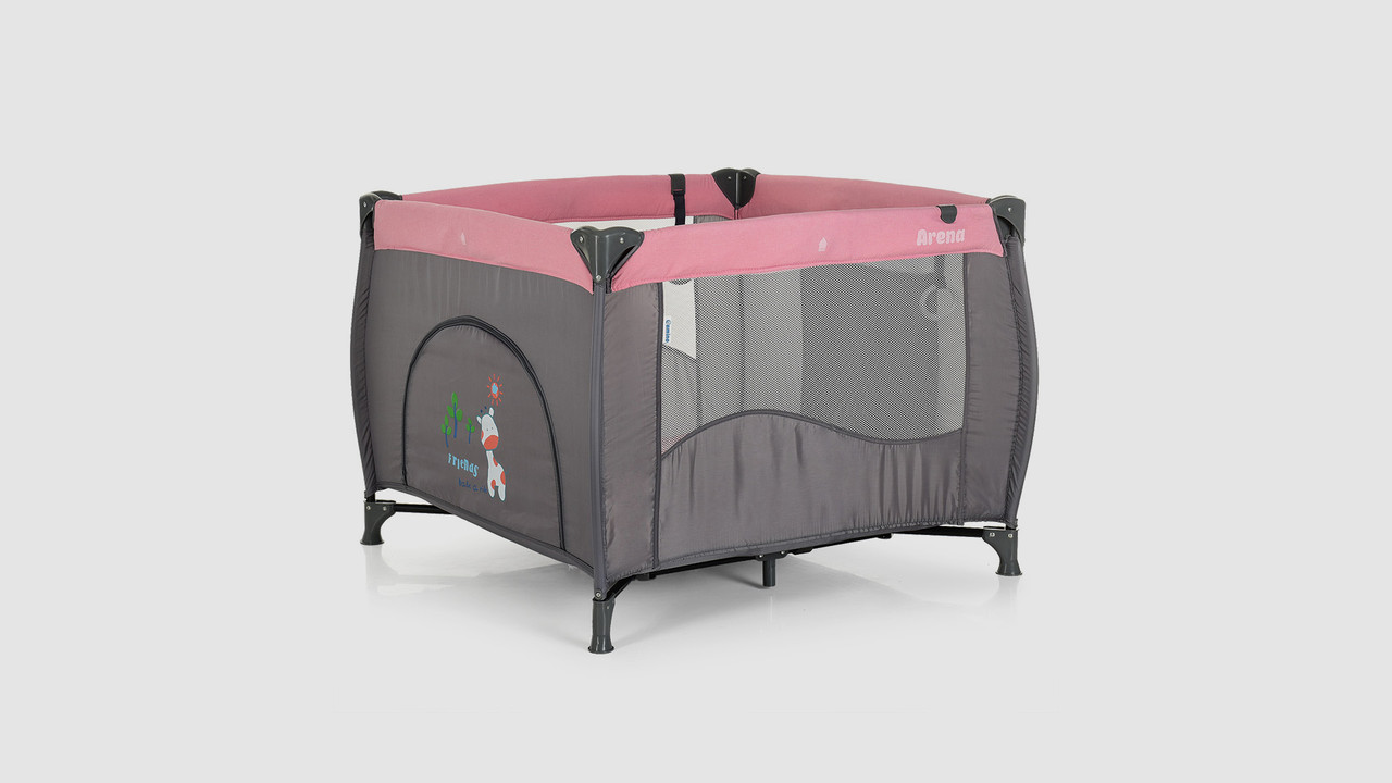 Детский манеж. EL CAMINO ME 1030 ARENA PINK LEN. Серо-розовый
