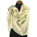 Белый танец 1455-2, павлопосадский платок (атлас) шелковый с подрубкой, фото 2