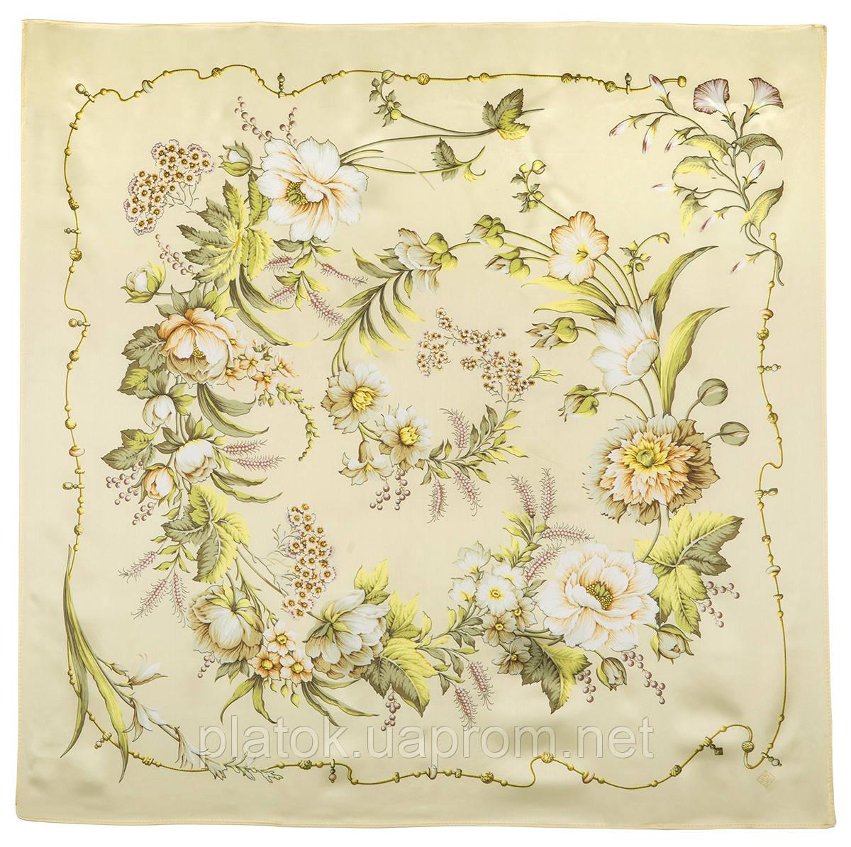 Белый танец 1455-2, павлопосадский платок (атлас) шелковый с подрубкой