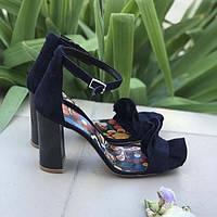 Босоножки на каблуке женские замша синие ZS0038