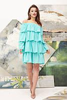 Коктейльное платье с оборками из креп–шифона 46326 (42–46р) в расцветках