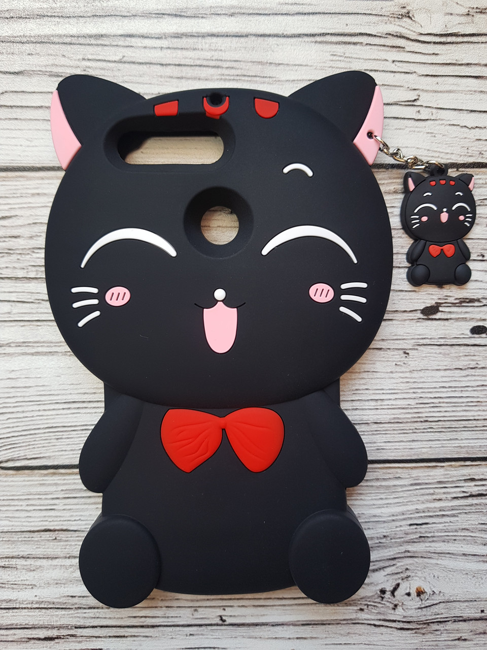 Объемный 3D силиконовый чехол для Huawei Y6 Prime 2018 / Y6 2018 Кошечка черная