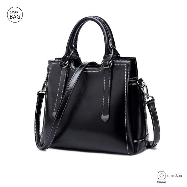 Женская кожаная сумка на одно плечо | черная