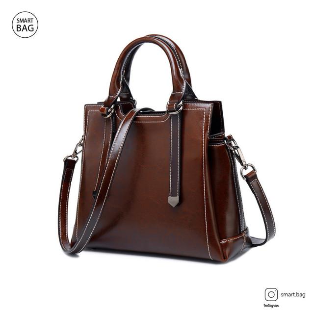 Женская кожаная сумка на одно плечо | бордовая