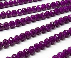 Бусины хрустальные (Рондель)  6х4мм пачка - 85-95 шт, цвет - пурпурный кракелюр