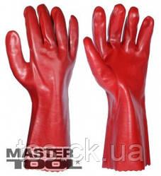 """MasterTool  Перчатки кислотостойкие, х/б трикотаж, полноеПВХ покрытие, манжет крага(красные)350мм,10,5"""",185-190г, Арт.: 83-0502-В"""