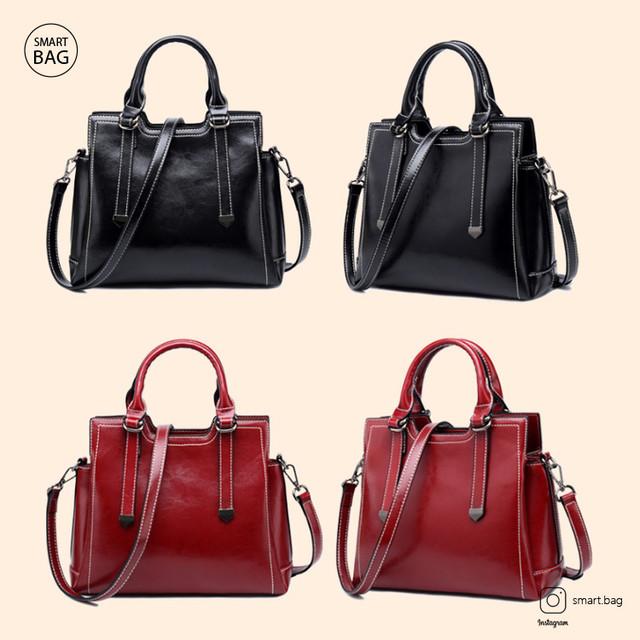 Женская кожаная сумка на одно плечо | черная + красная