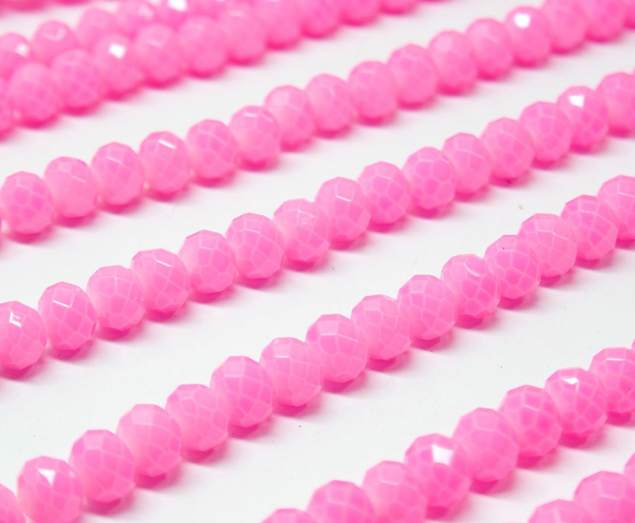Бусины хрустальные (Рондель)  6х4мм пачка - 85-95 шт, цвет - розовый кракелюр