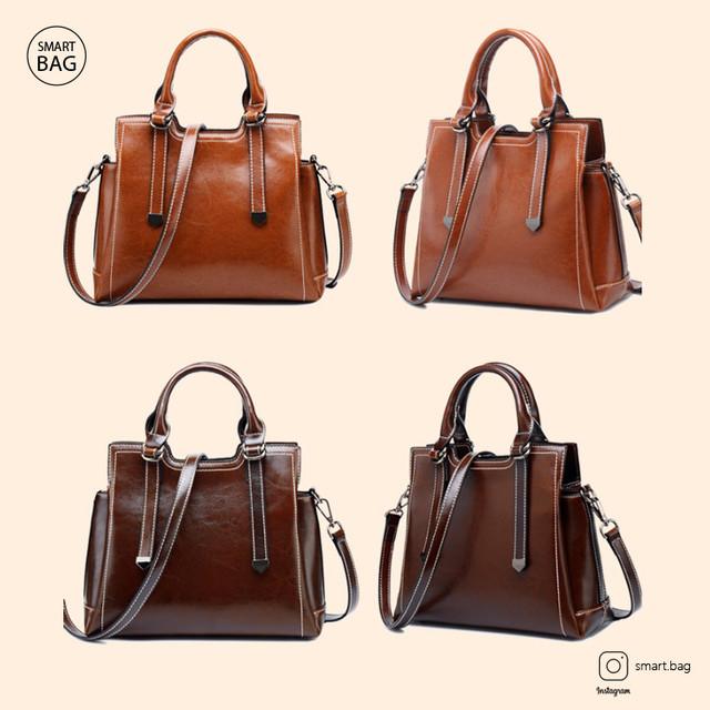 Женская кожаная сумка на одно плечо | коричневая + бордовая