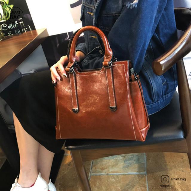 Женская кожаная сумка на одно плечо | коричневая