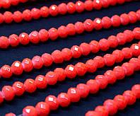 Бусины хрустальные (Рондель) 6х4мм пачка - 85-95 шт, цвет - неоновый оранжевый кракелюр