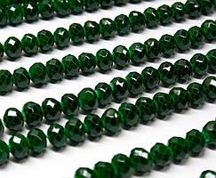 Бусины хрустальные (Рондель)  6х4мм пачка - 85-95 шт, цвет - темно зеленый кракелюр