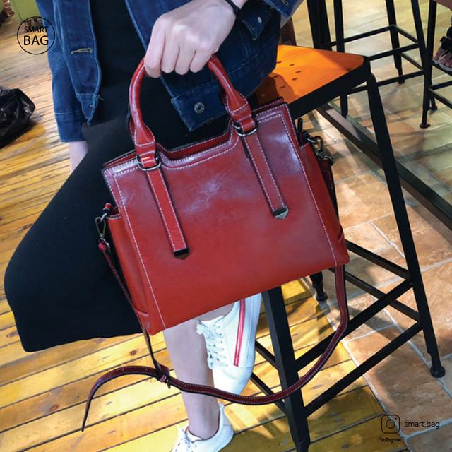 Женская кожаная сумка на одно плечо | красная