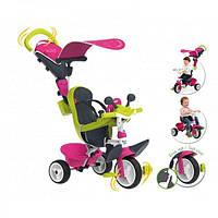 Велосипед детский Smoby Toys Беби Драйвер металлический с козырьком и багажником розовый (741201)