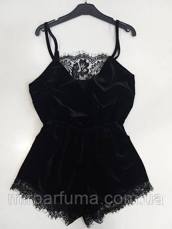 Женская черная бархатная пижама с изысканным кружевом, фото 2