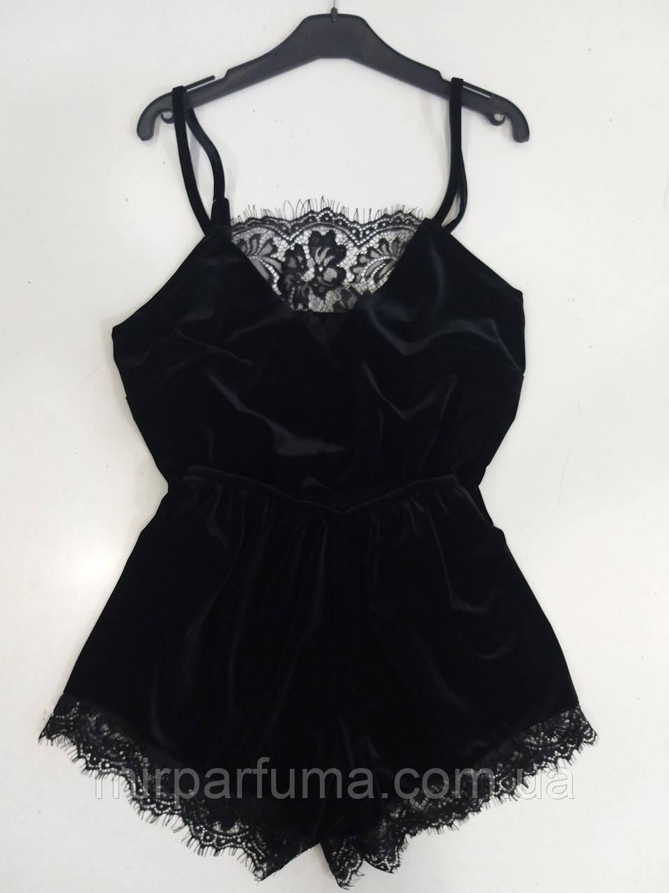 Женская черная бархатная пижама с изысканным кружевом