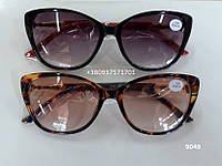 Солнцезащитные женские очки с диоптриями, бабочки. Модель 9049 черные / янтарные, фото 1
