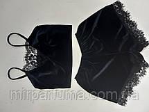 Женская черная бархатная пижама с изысканным кружевом, фото 3