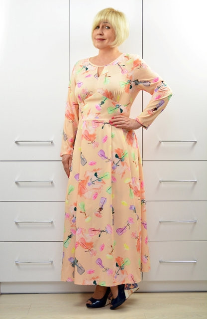 Платье Dimoda макси персик - Модель (1640-3) 54   размер