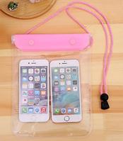 Водонепроницаемый прозрачный чехол сумка для телефона, планшета, документов XXL. Розовый