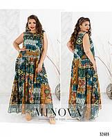 Длинное платье без рукавов шифоновое в стиле бохо 48-56