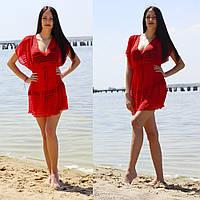 Пляжная женская туника с коротким рукавом