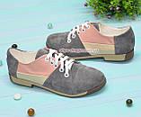 Туфли женские комбинировнные на низком ходу, фото 3