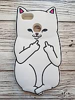 Объемный 3D силиконовый чехол для Huawei Y6 Pro 2017 / P9 lite mini Белый кот