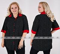 Рубашка женская в горошек большого размера, с 52-68 размер, фото 1