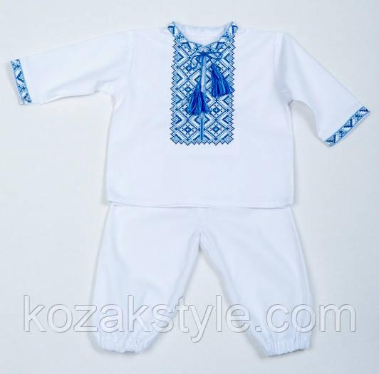 Костюм для хрещення на хлопчика (блакитна вишивка) розмір 68