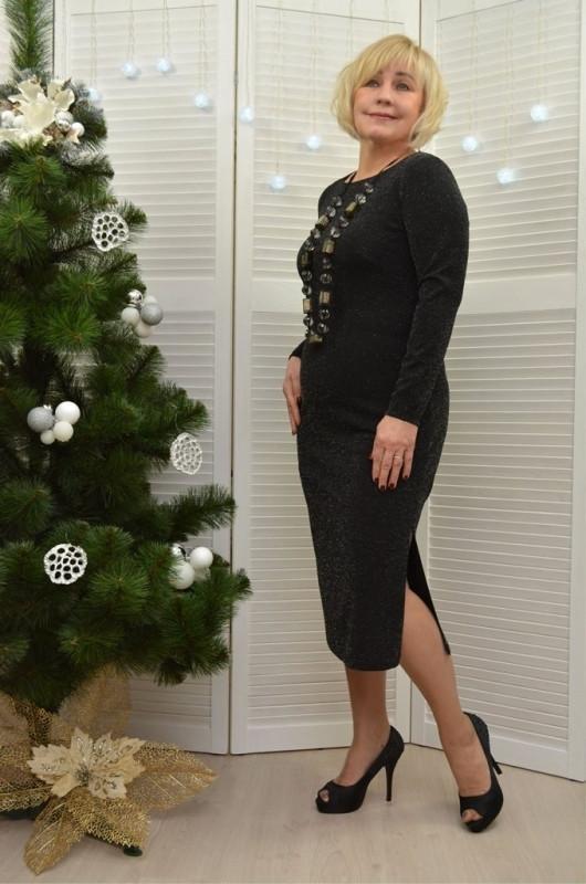 Платье Dimoda с разрезом черное (Л411-1)  50   размер