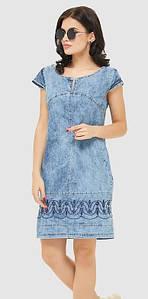 Платье джинс  ML короткий рукав с вышивкой  голубое