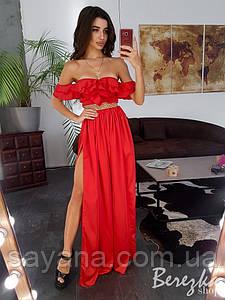 Женское платье макси с оборкой и декор.-поясом в расцветках. СФ-6-0619