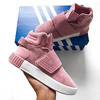 Adidas Tubular Invader Strap Pirate Pink   кроссовки женские; розовые; высокие; демисезон