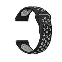 Силиконовый ремешок для смарт часов, 22 mm (Черно-серый)
