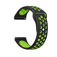 Силиконовый ремешок для смарт часов, 22 mm (Черно-зеленый)