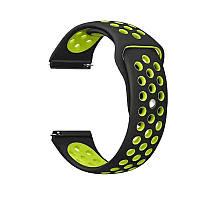 Силиконовый ремешок для смарт часов, 22 mm (Черно-желтый)