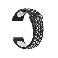 Силиконовый ремешок для смарт часов, 22 mm (Черно-белый)