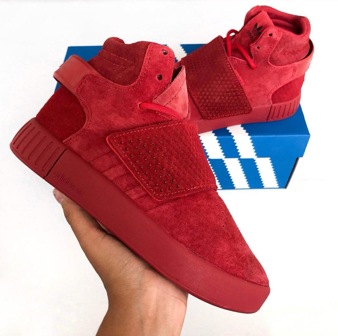 best service ae3ed bee55 Adidas Tubular Invader Strap Pirate Red | кроссовки женские; красные;  высокие