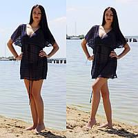 Пляжная женская туника в полоску с глубоким декольте, фото 1