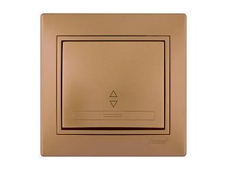 Выключатель проходной ТМ LEZARD серии Mira светло-коричневый перламутр