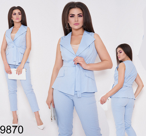 Брючный модный костюм брюки + жилетка с поясом (голубой) 829868