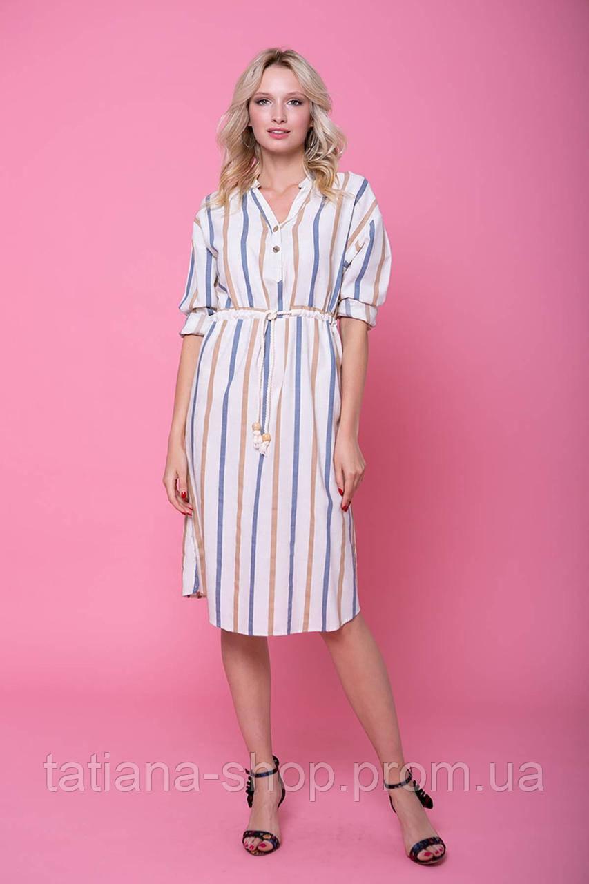 Прямое платье с голубой полоской SWEET белое, фото 1