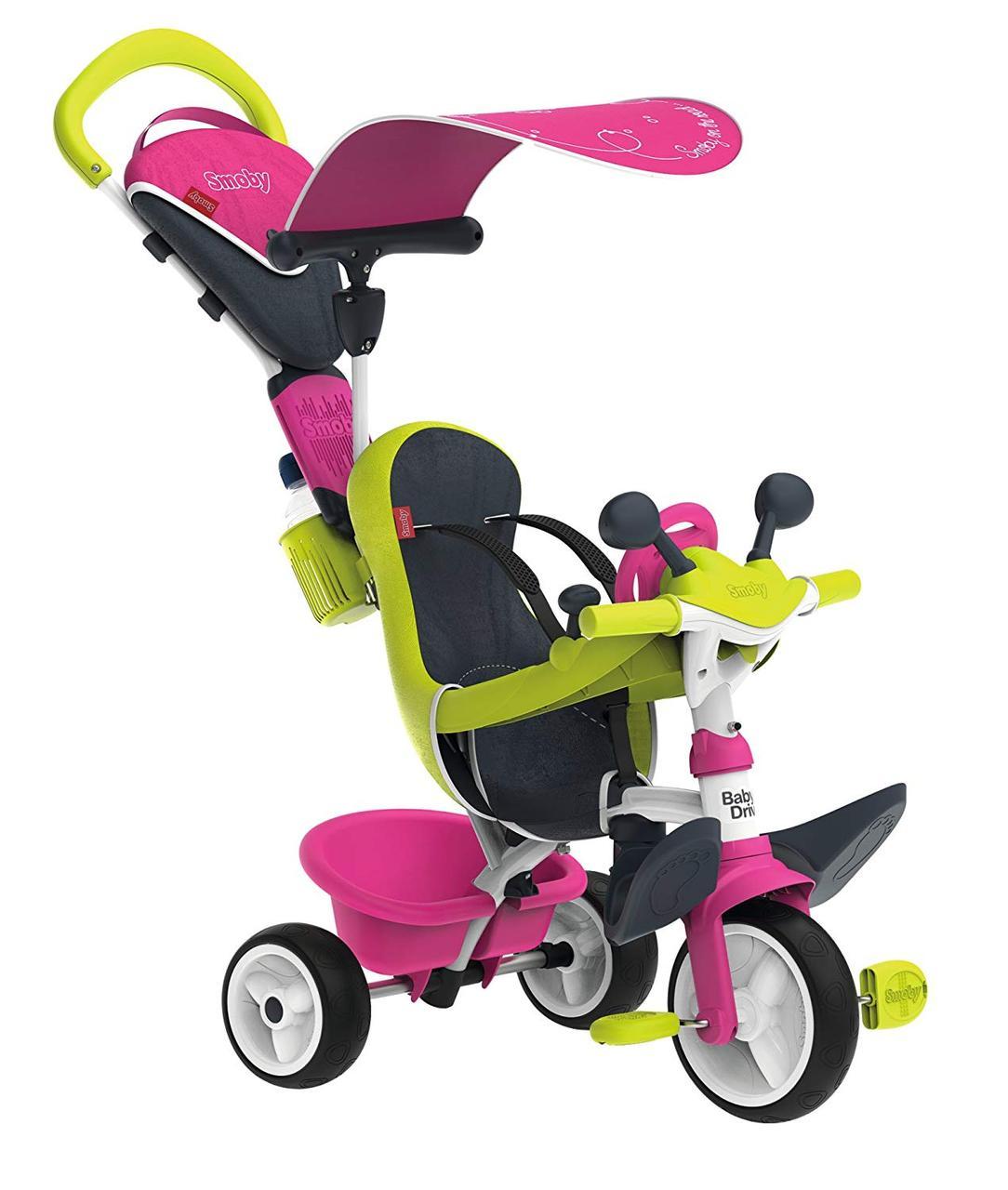 Велосипед детский Беби Драйвер металлический с козырьком багажником розово-зеленый Baby Driver Smoby