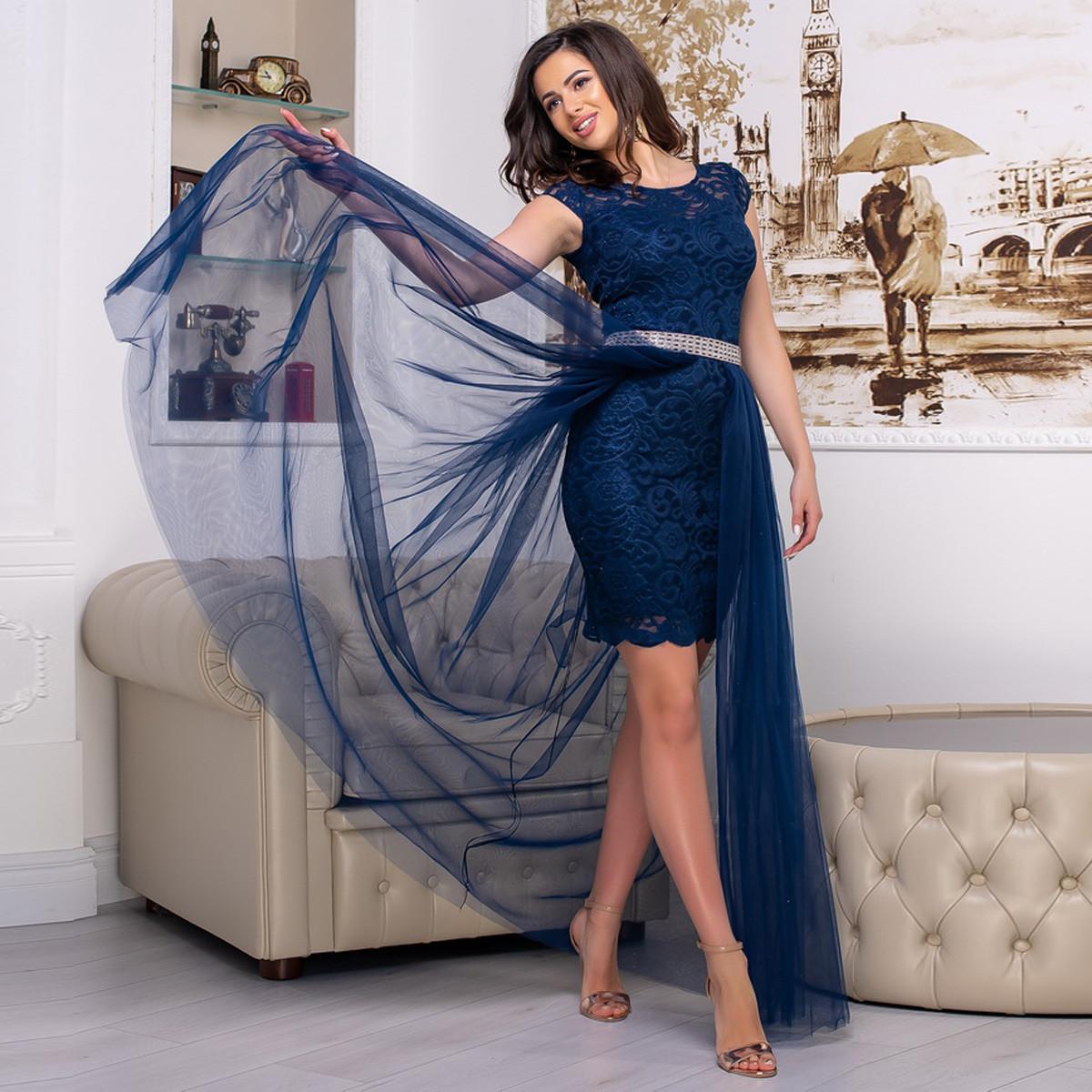 """Вечірнє плаття трансформер гіпюрову синє """"Імперія лайт"""""""