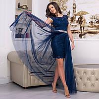 """Вечірнє плаття трансформер гіпюрову синє """"Імперія лайт"""", фото 1"""