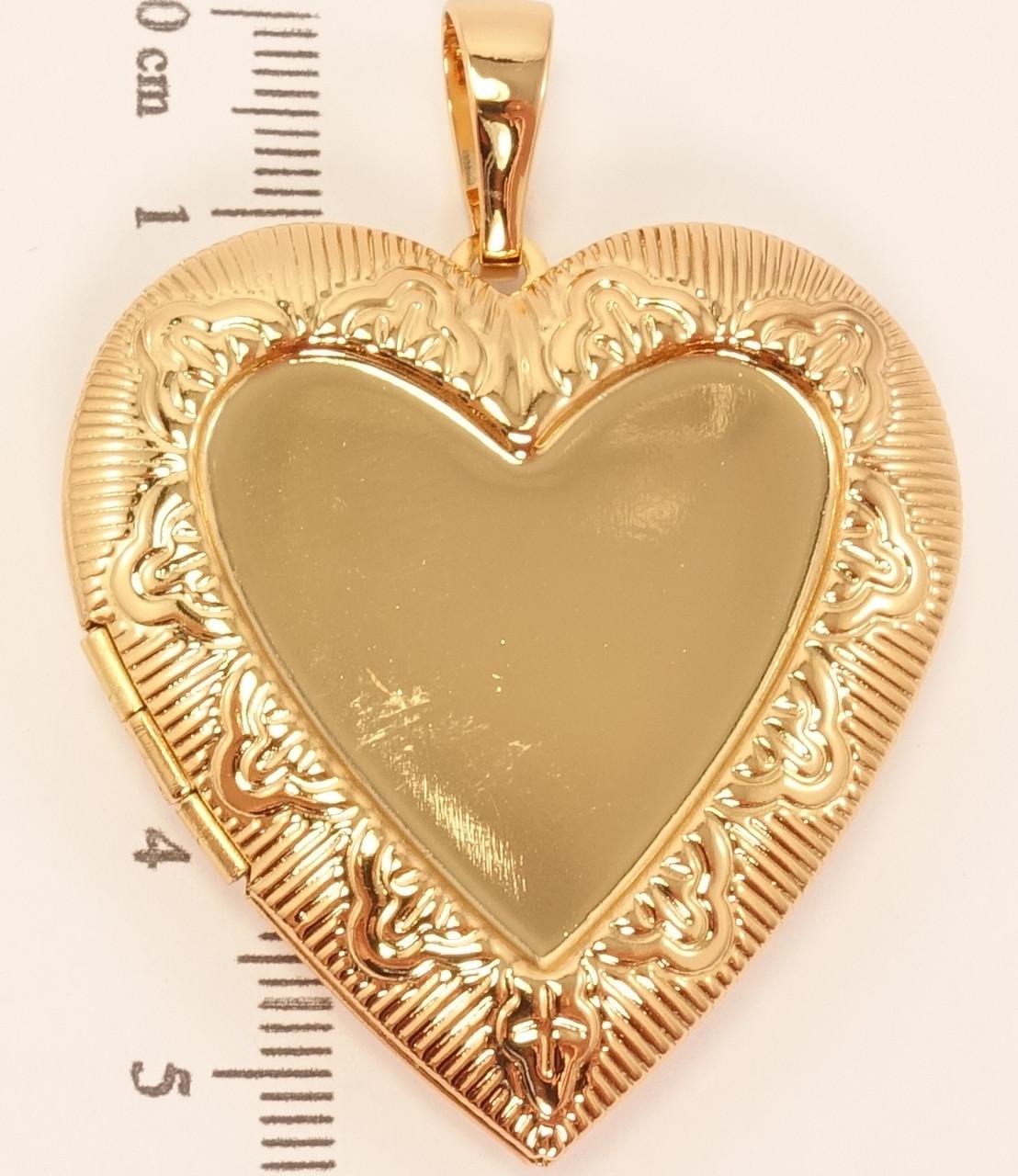 """Кулон ХР Позолота 18К """"Открывающийся медальон сердце с тисненым орнаментом"""""""