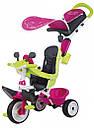 Велосипед детский Беби Драйвер металлический с козырьком багажником розово-зеленый Baby Driver Smoby, фото 2