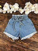 Джинсовые шорты высокая талия для девочки