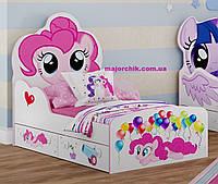 Детская кровать для девочки Little Pony Пинки Пай белая розовая